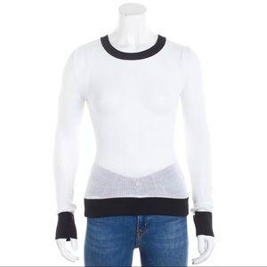RAG & BONE White Sheer and Black Trim Sweater  XS